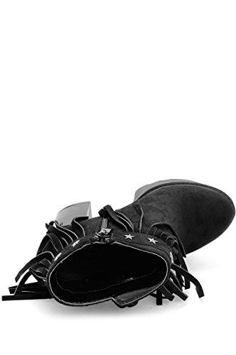 Alx Trend Chaussures femme Tronchetti scamosciati con frange Ilenia - Nero