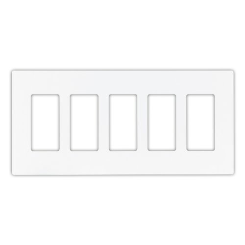 Eaton 9525WS ASPIRE Screwless Wallplate, 5-Gang, White Satin ()