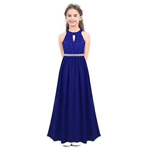 iEFiEL Girls Halter Lace Chiffon Flower Wedding Bridesmaid Dress Junior Ball Gown Formal Party Pageant Maxi Dress Blue Beaded Waist 14 ()