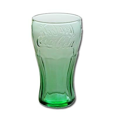 Green Coca-Cola Glasses Contour Juice 6 oz set 12