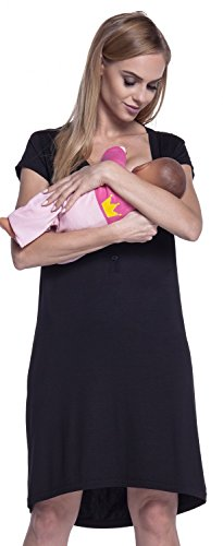 Happy Mama. Womens Maternity Nursing Breastfeeding Nightdress Shirt Gown. 981p (Black, US 4/6, M)