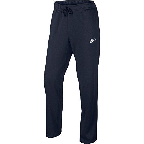 NIKE Mens Open Hem Club Cotton Jersey Light Sweatpants Obsidian/White 804421-451 Size Small ()