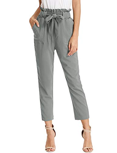 KANCY KOLE Women's Straight Fit Trouser Fashion Solid Ankle Slacks Pull On Pants for Work (Grey,M) ()