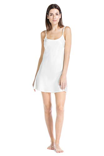 Fishers Finery Women's 100% Pure Mulberry Silk Chemise; Nightgown (Ivory, XL)