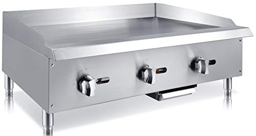 Chef's Exclusive CE787 Commercial Countertop Stainless Steel 36 inch Heavy Duty Manual Griddle Grill Natural Gas, 90,000 BTU per Hour 26KW, Metallic ()