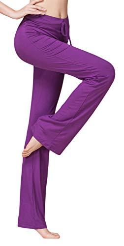 SHEKINI Women's Bootcut Yoga Pants Drawstring Casual Loose Wide Leg Bootleg Trousers with Elasticated Waist Pants Purple