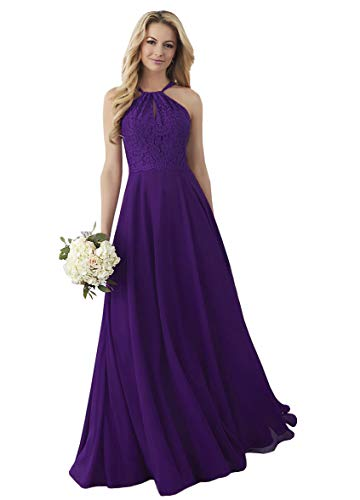 Women's Halter Prom Dress Lace Top Wedding Guest Dress A-line Bridal Party Gown Purple,4 ()