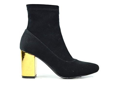 Black And Gold Boots - Chase & Chloe Milly-1 Women's Pointed Toe Gold Heel Bootie (7.5, Black Velvet)