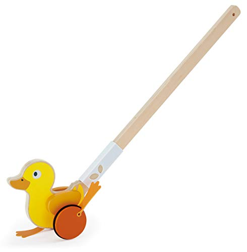 Hape Ducky Push Pal| Wooden Push-Along Ducky, Baby Walker Push Toy