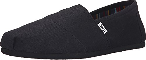 Free Toms Mens Classic Canvas Slip On Casual Loafer Shoe, Black/Black, US 9