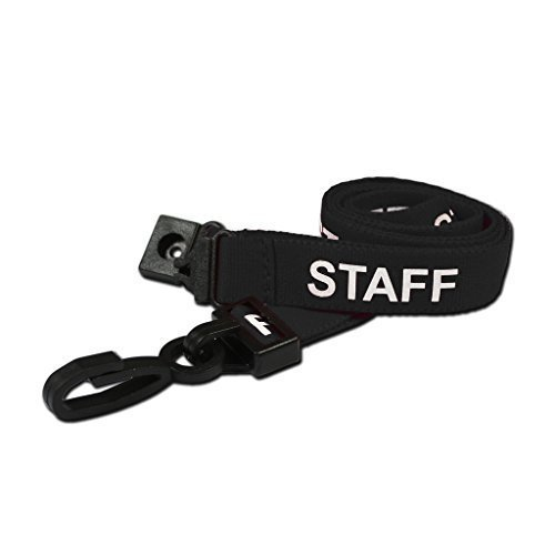(CKB Ltd 100X Black Staff Lanyards Breakaway Safety Lanyard Neck Strap Swivel Metal Clip for Id Card Holder Pre-Printed - Pull Quick Release)