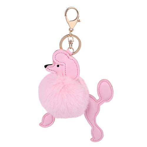 - Cute Fluffy Poodle Puppy Faux Fur Pom Pom Key Chains Bag Accessory Ornament Keyring Charms Pendant(Pink)