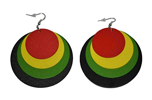 MM Women's Rasta Dangling Hoop Wooden Earrings with Silvertone 3.75