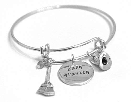 Broadway Jewelry Wicked The Musical Message Charm Expandable Wire Bangle Bracelet Defy Gravity Wicked Charm Crystals Bangle (Best Musical Numbers Broadway)