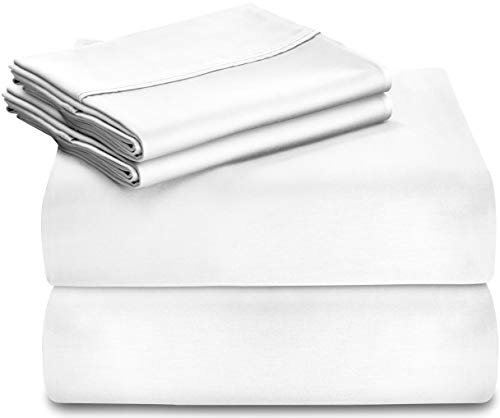 Utopia Bedding Premium 100% Cotton Bed Sheet Set 300 Thread Count - 3 Piece Bedding Set, 1 Flat Sheet, 1 Fitted Sheet and 1 Pillow Case (Twin, White)