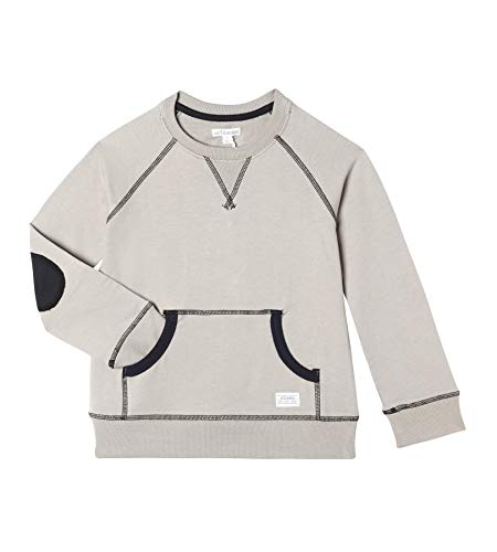 - art & eden Boy's 100% Organic Cotton Crew Neck Sweatshirt Stone Grey