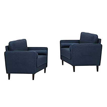 Amazon.com: Home Square Set of 2 Accent Chairs in Navy Blue ...