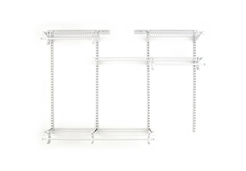 ClosetMaid 8808 ShelfTrack Adjustable Closet Organizer Kit, White, 4' to 6' (Closet Wire Organizer Kits)