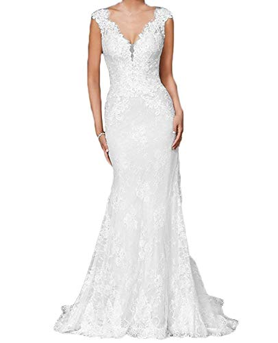 Women's Sexy V Neck Lace Applique Mermaid Wedding Dresses Long Backless Bridal Gowns Formal White-C 2