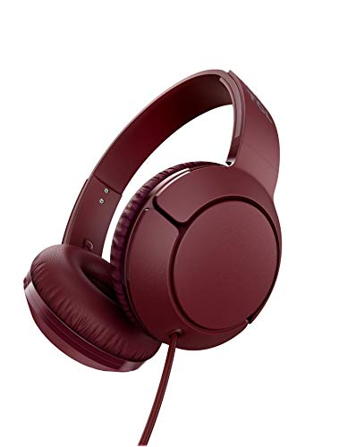 TCL Mtro200 On-Ear Wired Headphones Super Light Weight Headphones with 32mm Drivers for Huge Bass and Built-in Mic – Burgundy Crush