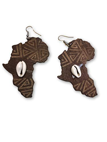 African map cowrie shell Wooden Earrings - Ancient Symbol of wealth and good luck Earrings with seashell - Ankh Cross (brown)