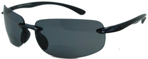 Lovin Maui Wrap Around Polarized Nearly Invisible Line Bifocal Sunglasses/black/2.00 Strength