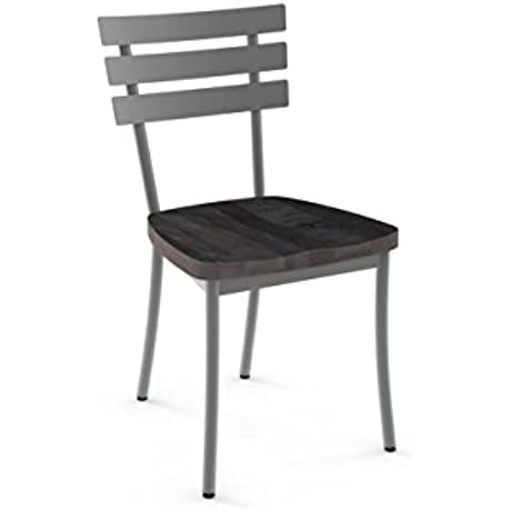 Amisco Industries Stadium Metal DIning Chair In Glossy Grey Metal And Medium Dark Gray Distressed Wood Set Of 2 Grey Metal Gray Wood
