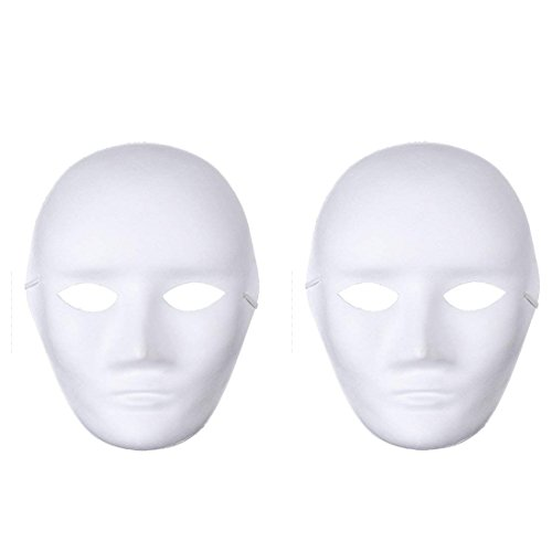 mollensiuer 12Pcs DIY White Mask Paper Full Face Opera Masquerade Mask Halloween Party Cosplay Masks with Elastic Rope -