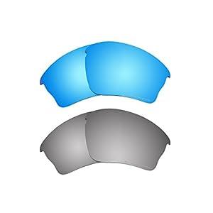2 Pairs Replacement Polarized Lenses Black Iridium & Blue for Oakley Half Jacket XLJ Sunglasses