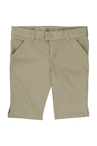 - French Toast Big Girls' Twill Bermuda Short, Khaki, 12