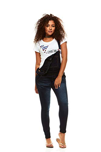 Cover Girl Women's Plus Size Denim Overalls Bib Strap Button Skinny Fit, Varsity Blue 16W