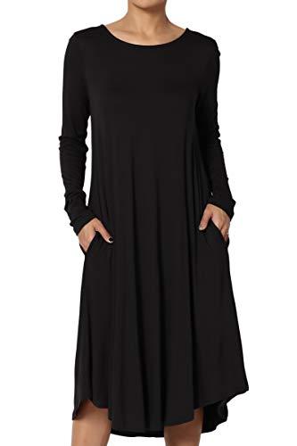 (TheMogan Women's Long Sleeve Pocket A-line Fit and Flare Midi Dress Black M)