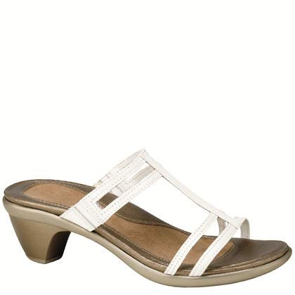 Naot Women's Loop Wedge Sandal, White Leather, 38 EU/6.5-7 M - Wedges Leather Charlotte