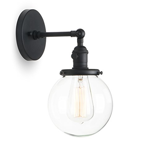 "Phansthy Retro Industrial Sconce Light Globe Glass Industrial Wall Light Fixture with 5.9"" Round Clear Glass Canopy for Loft, Kitchen, Dining Room Decoration and Lighting - Glass Canopy Wall"