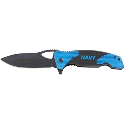 Maxam SKNAVY Navy Blue/Black Liner Lock Folding Knife (Honed Maxam Knife Liner Lock)