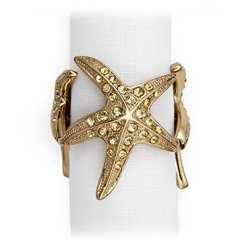 L'Objet 3 Gold Starfish Napkin Rings, Yellow Swarovski Crystals Set/4