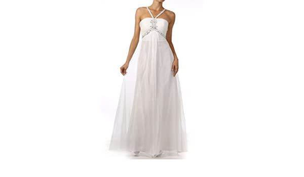 Fiory Naz Wedding Dresses FNJ-1071W Sleeveless formal dress with stones on waistline and bustline