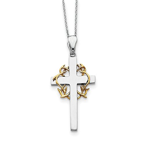 Rhodium & Gold Tone Plated Sterling Silver No Greater Love Cross Necklace, 18 Inch