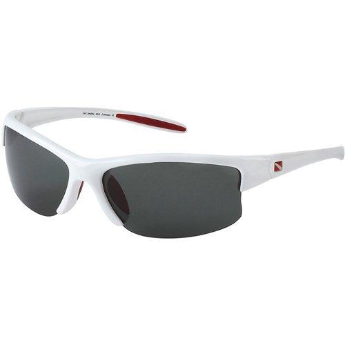 DIVE SHADES Curacao WHITE polarized dive flag sunglass + deluxe logo neoprene sunglass retainer + micro fiber - V Sunglasses Logo