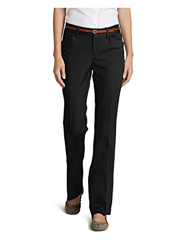 Eddie Bauer Women's StayShape Twill Trousers - Slightly Curvy, Black Regular 8 R ()
