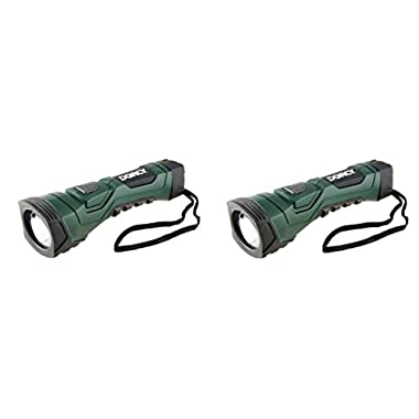Dorcy 41-4751 CyberLight Weather Resistant LED Flashlight with Nylon Lanyard and TrueSpot Reflector, 180-Lumens, Dark Green Finish (2 Pack)