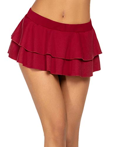 Avidlove Women's Flirty Double Layered Ruffle Mini Skirt Wine Red L