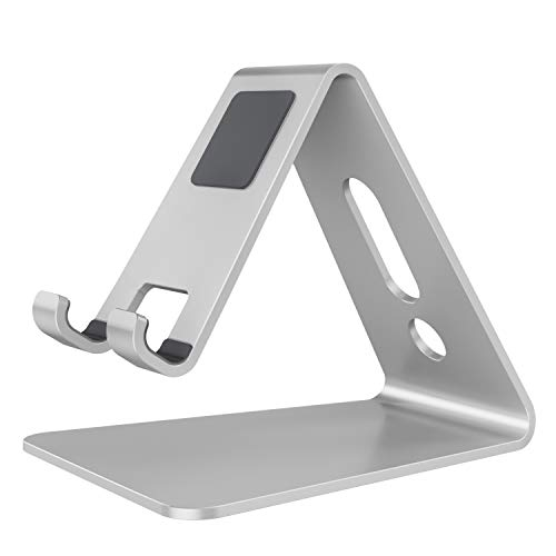 [Updated Solid Version] OMOTON Desktop Cell Phone Stand Tablet Stand, Advanced 4mm Thickness Aluminum Stand Holder for Mobile Phone and Tablet (Up to 10.1 inch), Silver from OMOTON