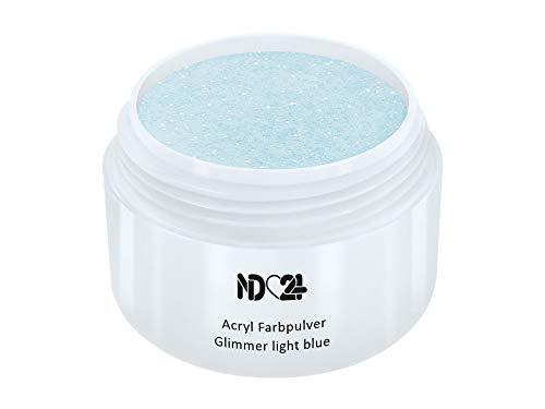 Acryl Farbpulver Glimmer light blue BLAU - nd24 BESTSELLER - Feinstes FARB Acryl-Puder Acryl-Pulver Acryl-Powder - STUDIO QUALITÄT