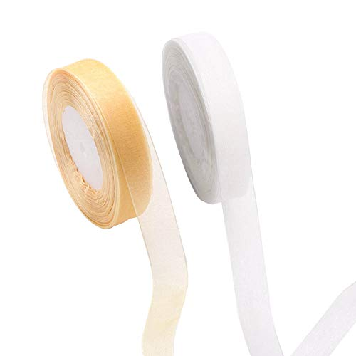 Feelava Christmas Organza Ribbon 2 Rolls, 2 cm Gift Wrapping Ribbons Box Candy Bags Packaging DIY Crafting Projects Xmas Decoration Wedding Party Decor White and Gold