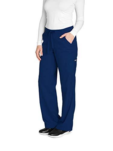 Grey's Anatomy Women's 4245 Junior Fit 4-Pocket Elastic Back Scrub Pants, Indigo, 2X-Small