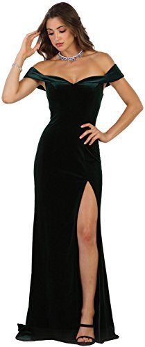 Royal Queen RQ7533 Off The Shoulder Red Carpet Velvet Gown (10, Hunter (Red Carpet Designer Dresses)