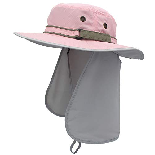 Home Prefer Unisex Quick Drying UV Protection Outdoor Sun Hat with Flap Neck Cover (Pink) ()