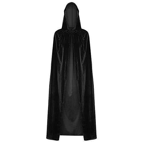 EbuyChX Hooded Collar Cloak Halloween Costume Solid Color Velour Cape Black ONE Size(FIT Size XS to -