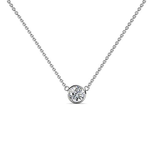 TriJewels Round Diamond 0.33 ct Bezel Set 4.4mm Womens Solitaire Pendant Necklace (I1-I2, H-I) 14K White Gold with 16 Inches Gold Chain